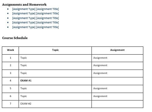 Assignments and Course Schedule Sections